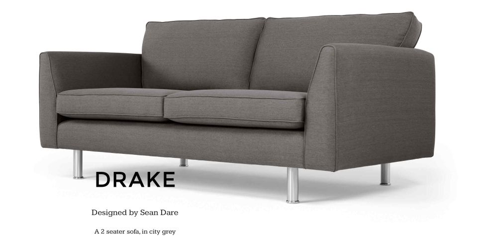 Drake 2 Seater Sofa In City Grey Made Com 2 Seater Sofa Sofa Online High Quality Sofas
