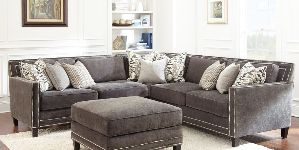 Grey Sofa With Nailheads | Buy Steve Silver Torrey Sectional In Charcoal  Gray Fabric   TY900
