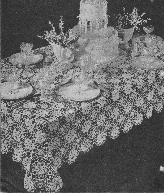Vintage 1940\'s Tablecloth Crochet Pattern, Retro Home Decor, Dining ...