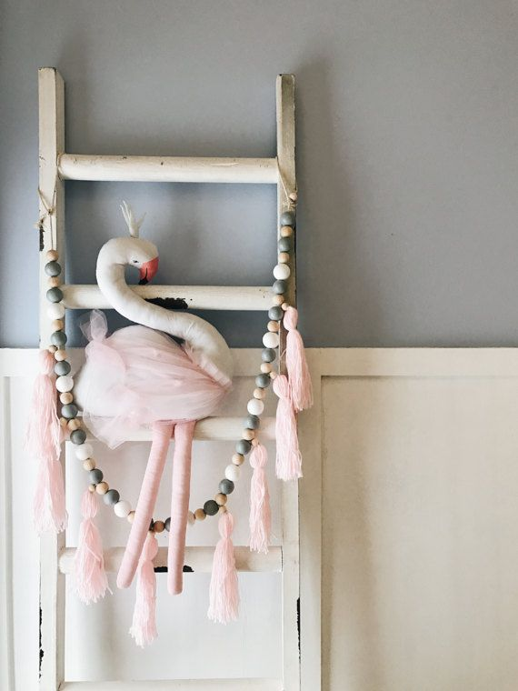 Nursery Garland Decor Featuring Pastel Blush Tels Made From Soft Yarn With Wooden Beads And Cotton Rope This Is A Must Have That