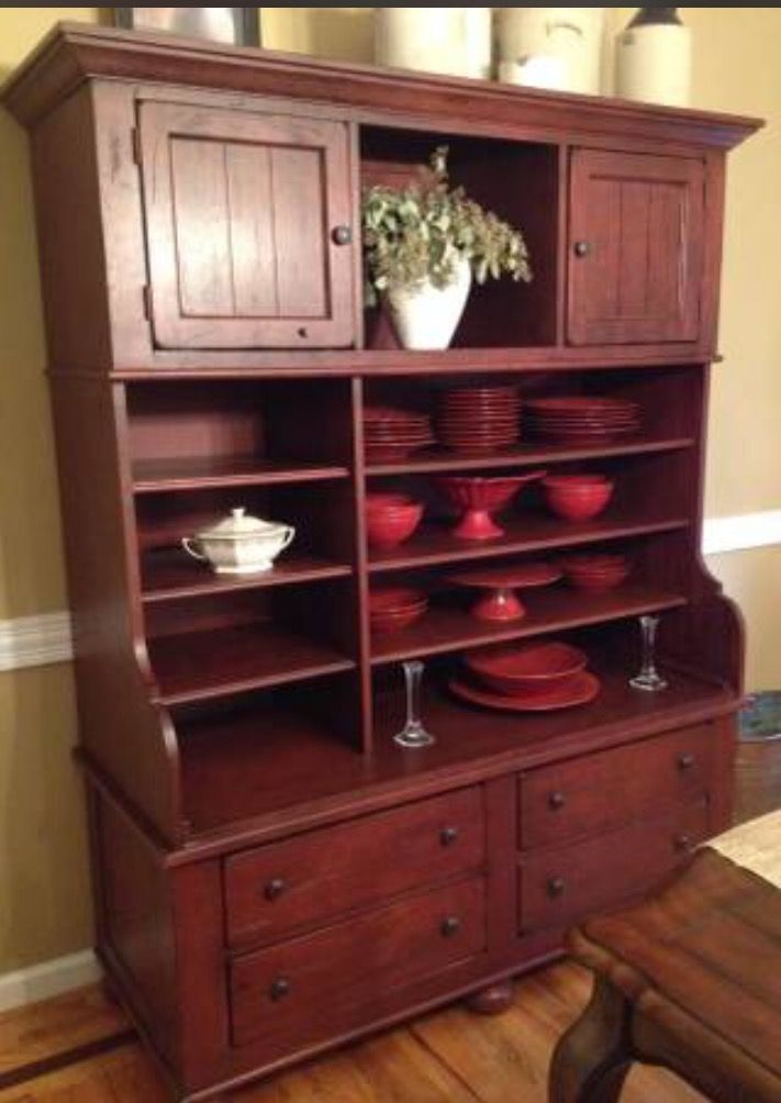Merveilleux Broyhill Attic Heirlooms Entertainment Cabinet/Hutch In Antique Red Color ❤️