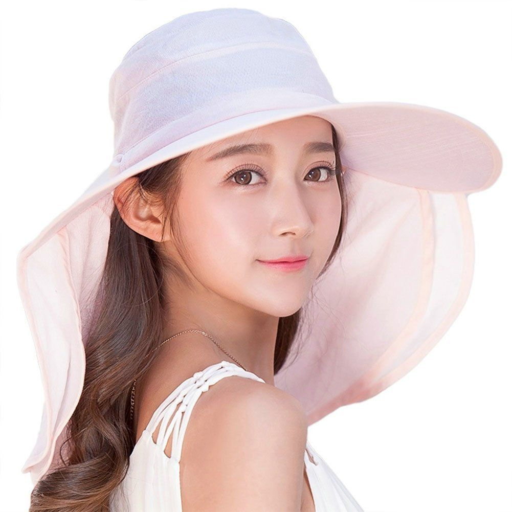 b1a9530adc86f Siggi Womens Multi-function Wide Brim Summer Sun Flap Cap Visor Hat Neck  Cover Face Mask UPF 50+ Yellow at Amazon Women s Clothing store