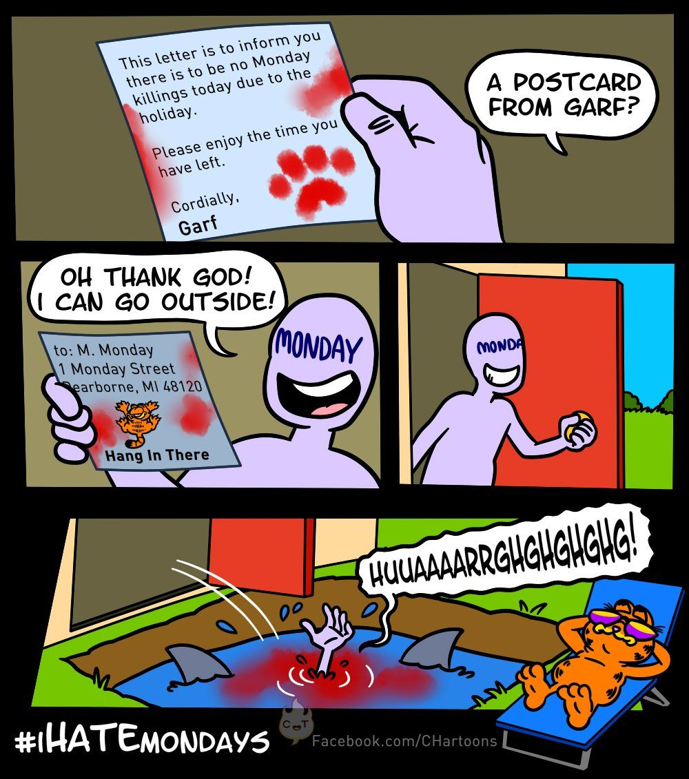 Garfield vs Mondays Funny pictures, Dork, Postcard