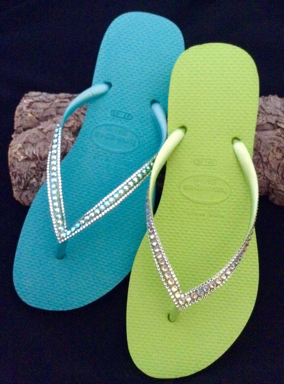 4e8993610bf2cc Turquoise or Lime Green Swarovski Crystal Havaianas SLIM