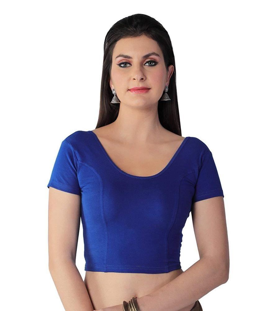 b5c8b38cc5e2f Blue STRETCHABLE Lycra Ready made Blouse Saree Tunic Round Neck Sari
