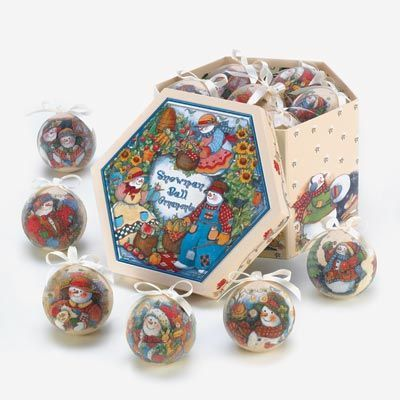 $28.95 Retail Price: $31.95 You Save: $3.00 (9%)COUNTRY SNOWMAN ORNAMENT BOX SET  Warm up the winter with a splash of country sunshine for your holiday tree!   Cheery ornaments feature six different scenes of snowmen at work and play, with a pretty beaded texture adding just the right touch of seasonal shimmer.   Each ornament features a ribbon loop at top for hanging.  Packaged in a matching gift/storage box.  Paper and polyfoam.  http://smb01.com/tc-country-snowman-ornament-box-set