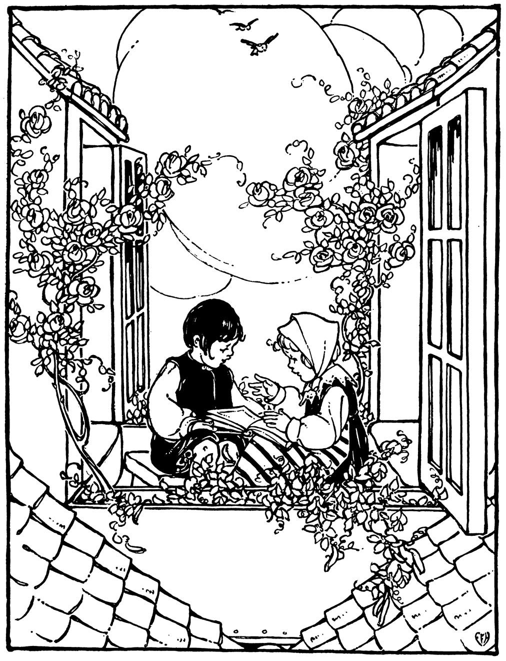 The children sat once more in the garden on the roof.\' Illustration ...