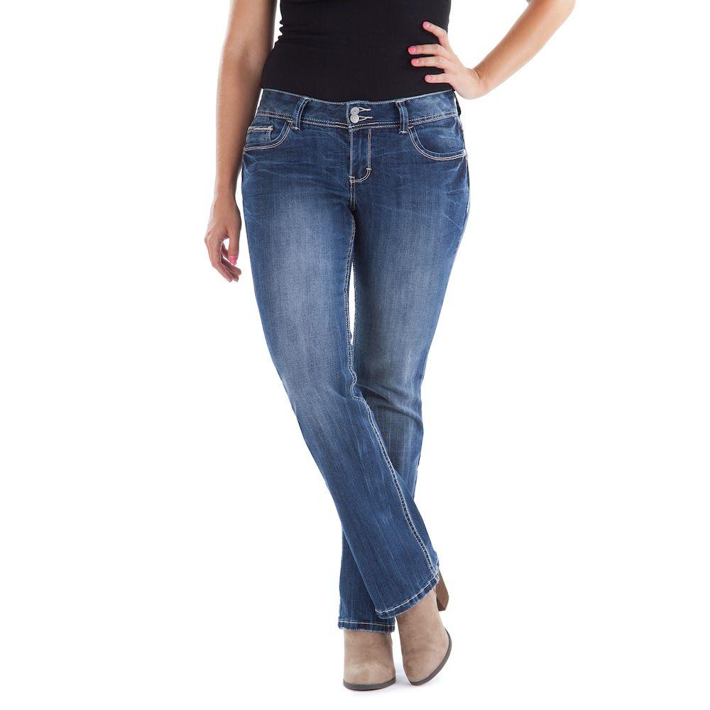 Juniors' Amethyst Double Button Slim Bootcut Jeans | Suits