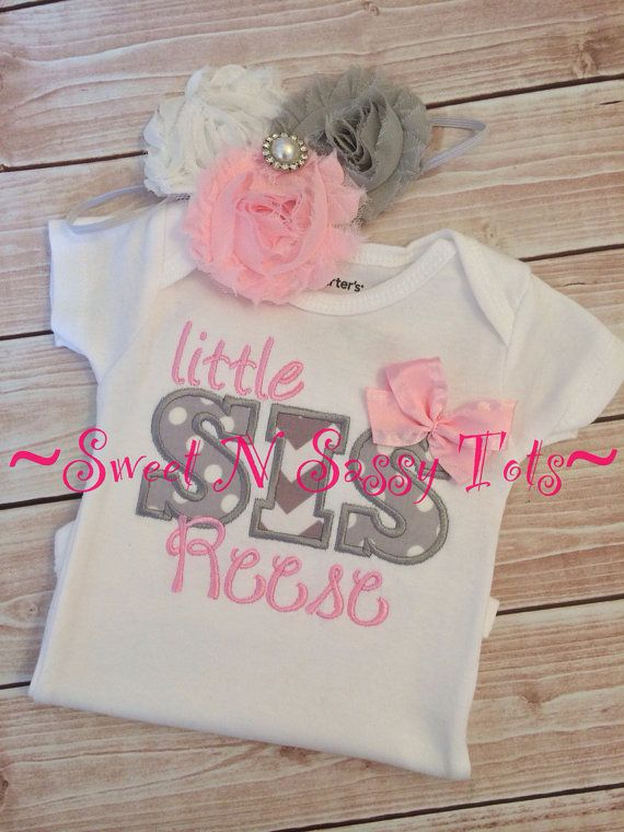 Big Sister, Little Sister, Big Brother, Little Brother-Sibling Shirt or Onesie, Going Home Outfit, Pregnancy Announcement, Baby Girl on Etsy, $25.00