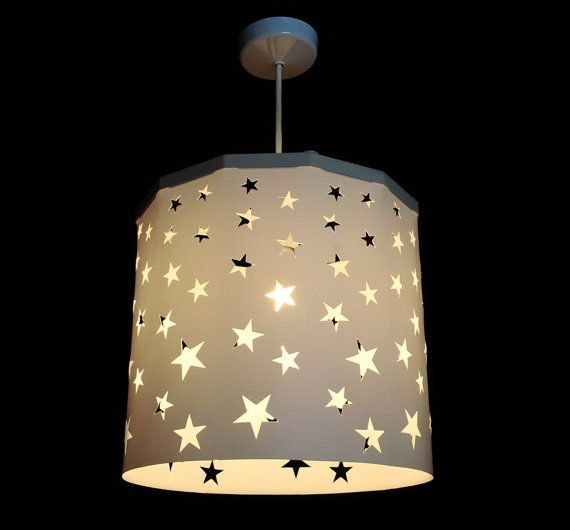 White Stars Lampshade Ideal For Children S Room And Nursery For Beautiful Stars Projection On The Walls Ceiling Pendant Magnetic Star Lampshade Pendant Light Shades Light Shades