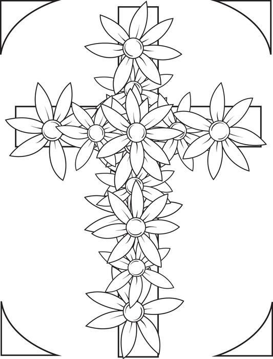Cross With Flowers Coloring Page