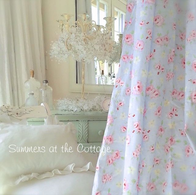Shabby Beach House Chic Bella Blue Pink Roses Fabric By The Yard