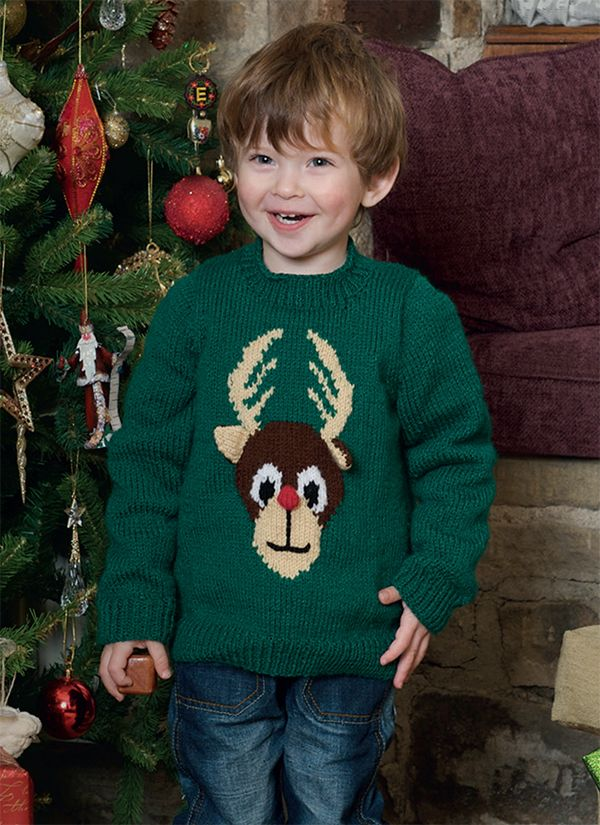 Knitted Childrens Reindeer Jumper In Patons Fab Dk Knitting