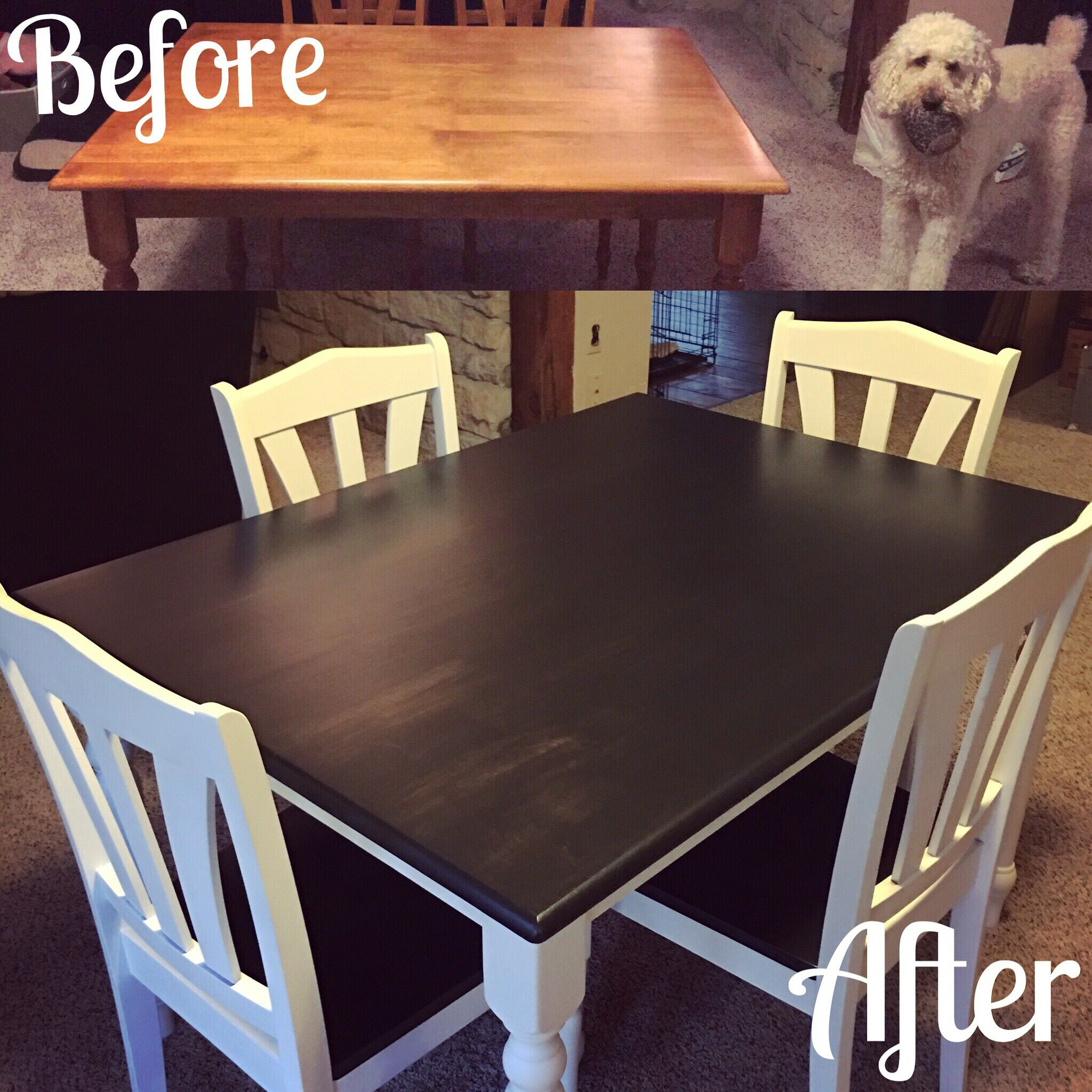 Our Kitchen Table Makeover We Used Rustoleum Chalk Paint In Linen White And Ebony Wood Stain Diy Kitchen Table Kitchen Table Makeover Painted Kitchen Tables