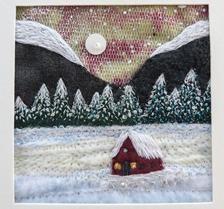 Winter snowscene tiny cabin embroidered fibreart snowy   Etsy