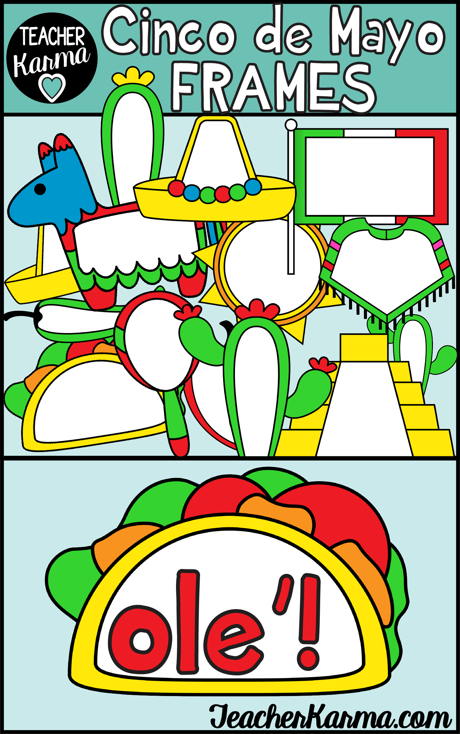 Cinco de Mayo Frames Clipart, Holiday Borders | TK Clipart