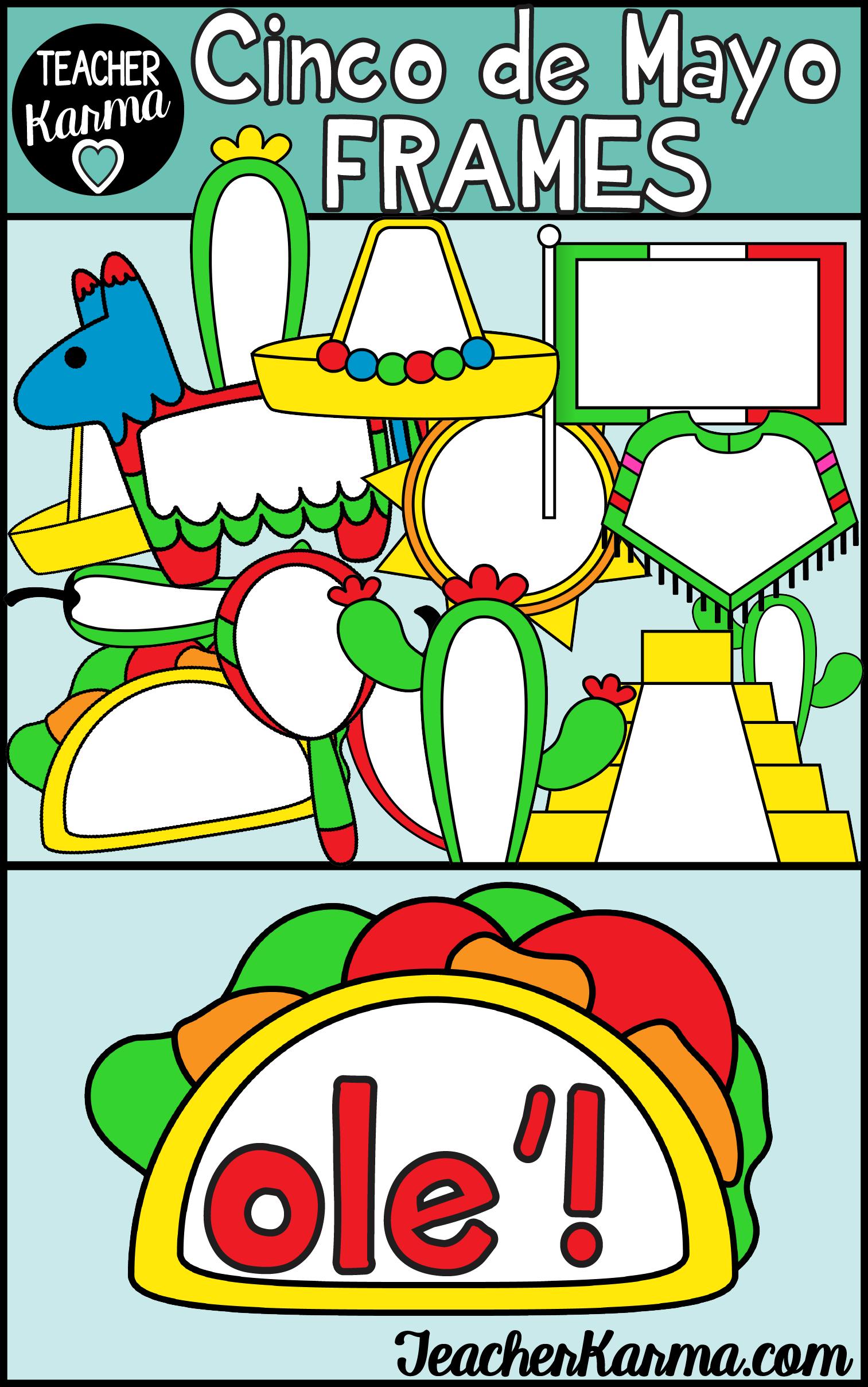 Cinco de Mayo Frames Clipart, Holiday Borders | TK Clipart
