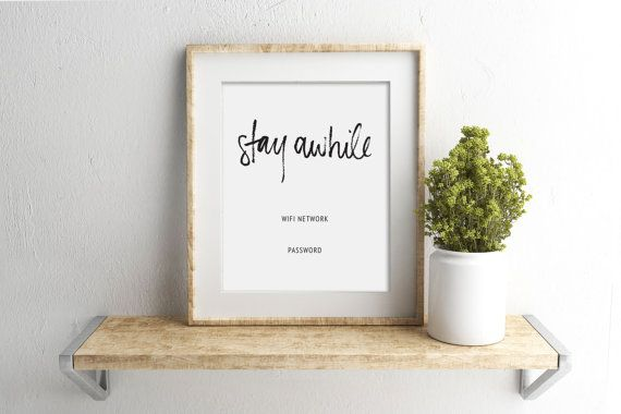 Guest room sign wifi password printable guest wifi for Chambre 8x10