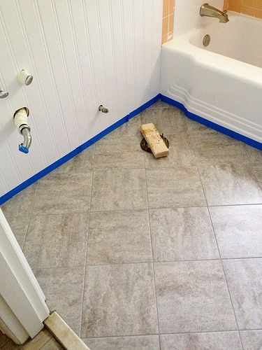 Remodelaholic Bathroom Redo Grouted L And Stick Floor Tiles