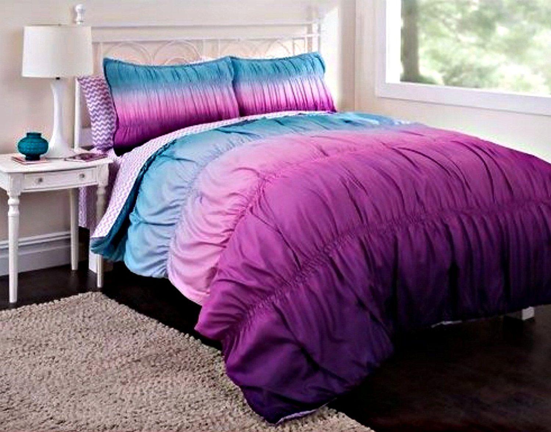 Amazon Com 7pc Girl Purple Tie Dye Full Comforter Set 7pc Bed In A Bag Home Kitchen Dorm Comforter Sets Comforter Sets Complete Bedding Set