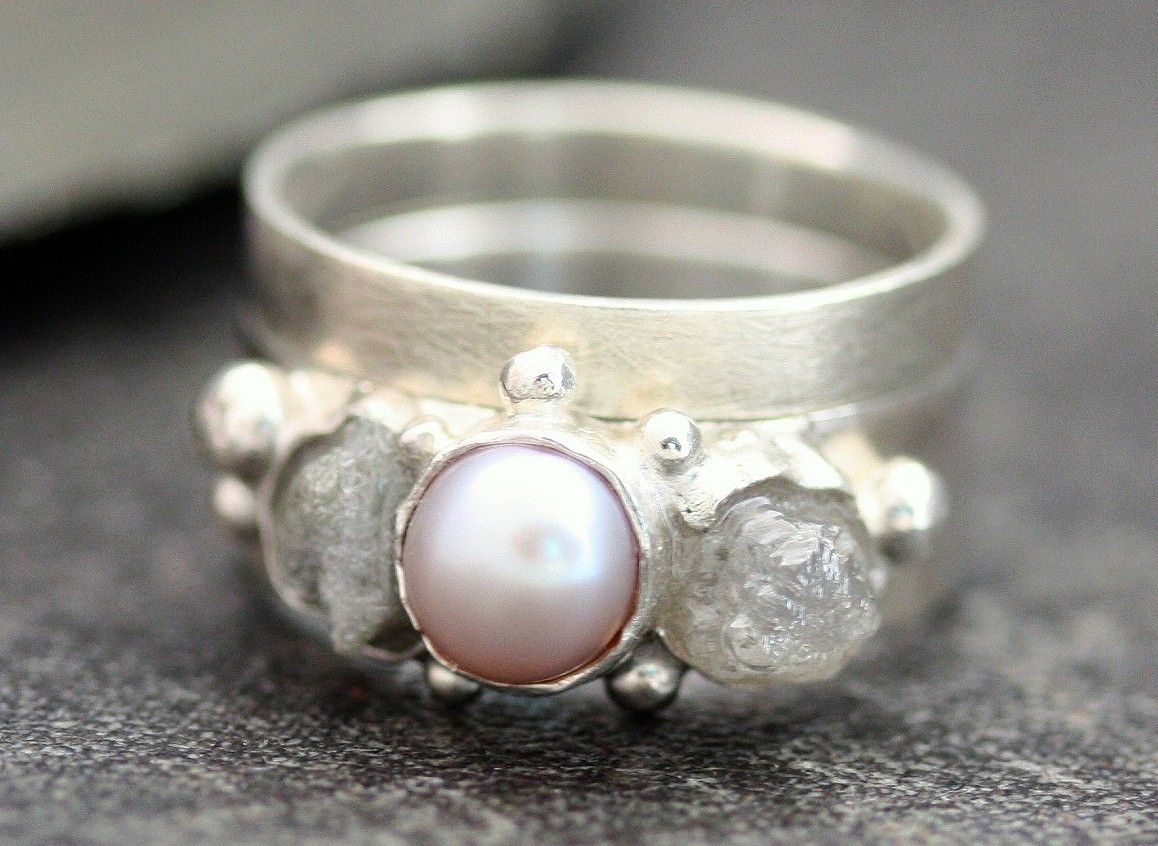 Rough Diamond and Pearl Engagement Band and Wedding