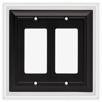 BRAINERD Architectural Double Rocker Flat Black Wall Plate - 64211 (BRAINERD 64211), Decorative Wall Plate Cover   Double Decorator GFCI   LibertyHardware