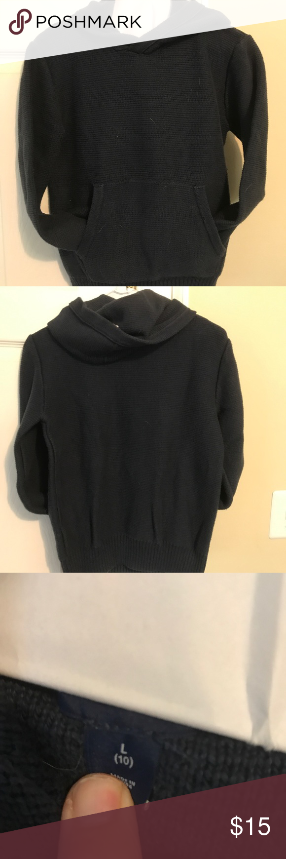 WORN ONCE! Navy blue sweater-knit hoodie | Blue sweaters, Navy ...