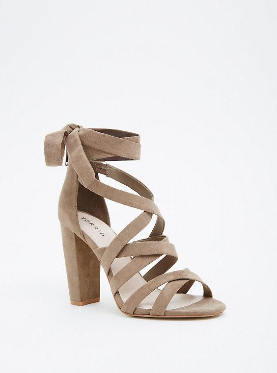 Taupe Strappy Lace-Up Heel (Wide Width