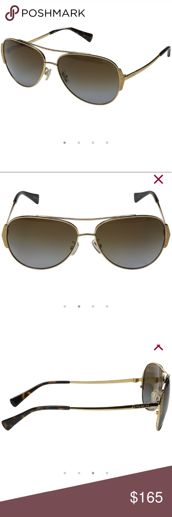 007e21d3bb COACH Polarized Gold tortoise Aviator Sunglasses Brand new in hard black  sunglasses case with cleaning cloth and care booklet. These are polarized!
