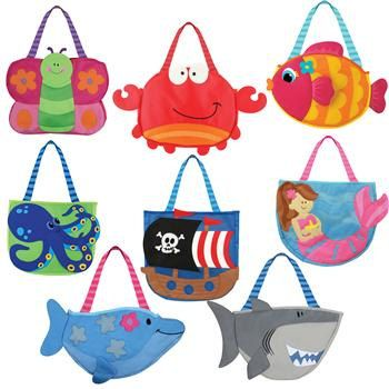 Kids beach bag with sand play set shark frog pirate butterfly with ...