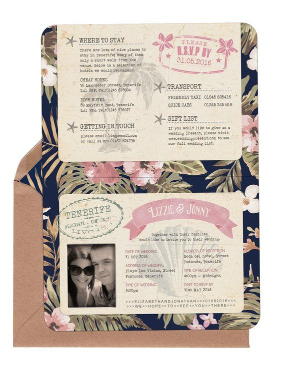 Folded Passport Invitation | Tropical Beach Flowers | Hand painted map | Fully Personalised