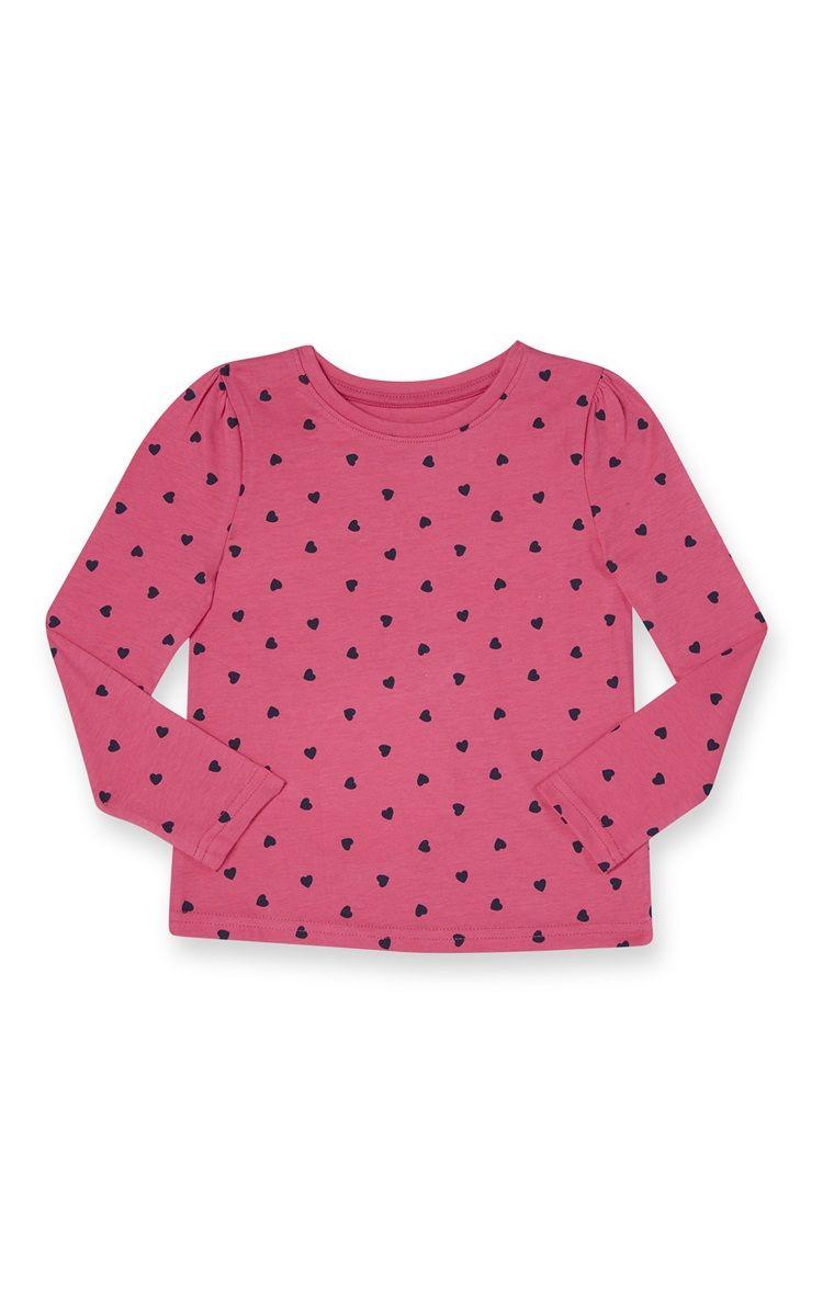 Primark - Pinkes Langarm-Shirt mit Herzmuster