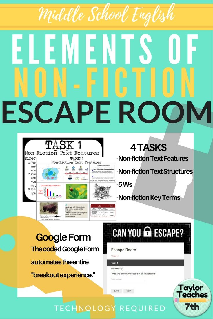 Elements of Non-Fiction - Escape Room - Middle School English ...