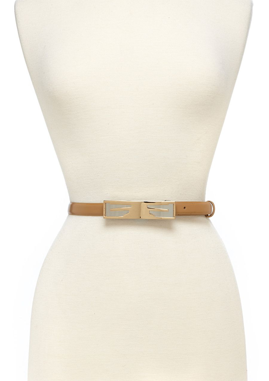 WCM  New Calf Skinny Belt with Statement Buckle, Nude