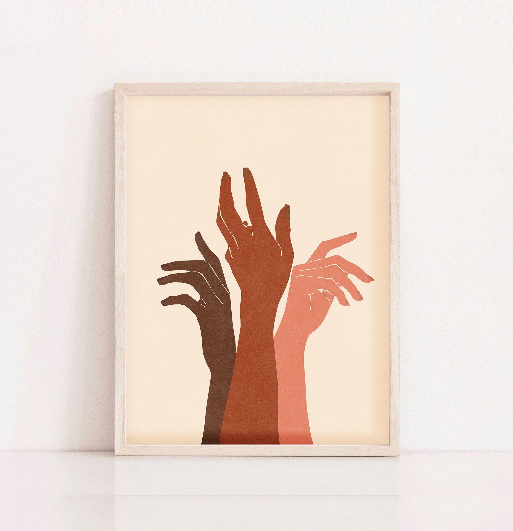 Flower Hand Art Print Hands Wall Print Rolled Canvas Print,Feminist art African Art Boho Hands poster Abstract Hand Art Print Hand art