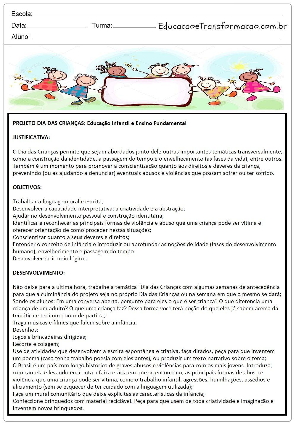 Suficiente Projeto Dia das Crianças para Educação Infantil e Ensino  JU46