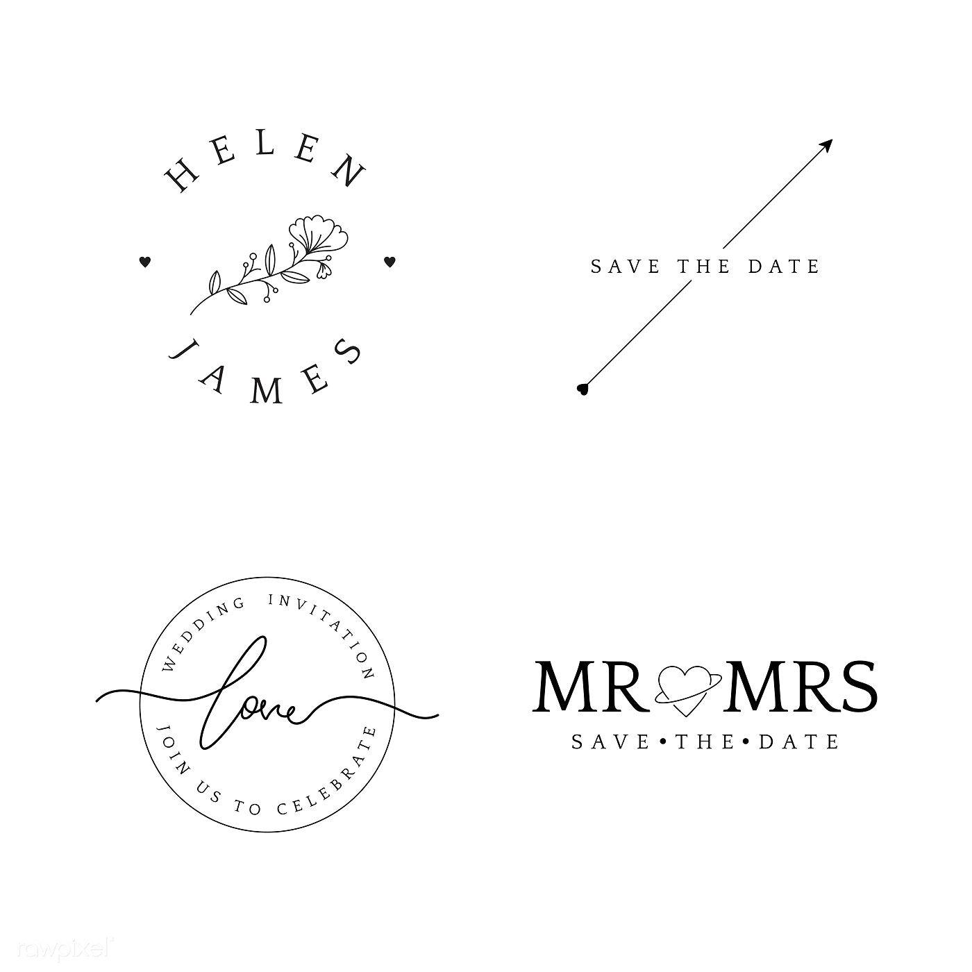Set Of Wedding Invitation Badge Design Vector Free Image By Rawpixel Com Wedding Invitation Card Design Wedding Invitation Vector Wedding Invitations Logo