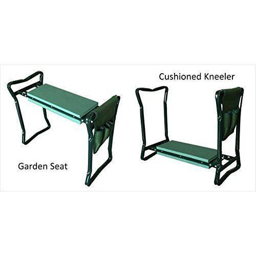 Foam Padded Metal Folding Garden Bench Kneeler Outdoor Seat Stool Seat W/  Pouch #MetalGardenBench