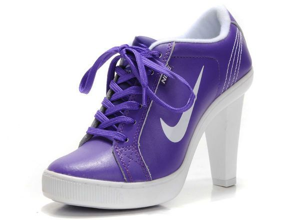 Purple White Swoosh Heels