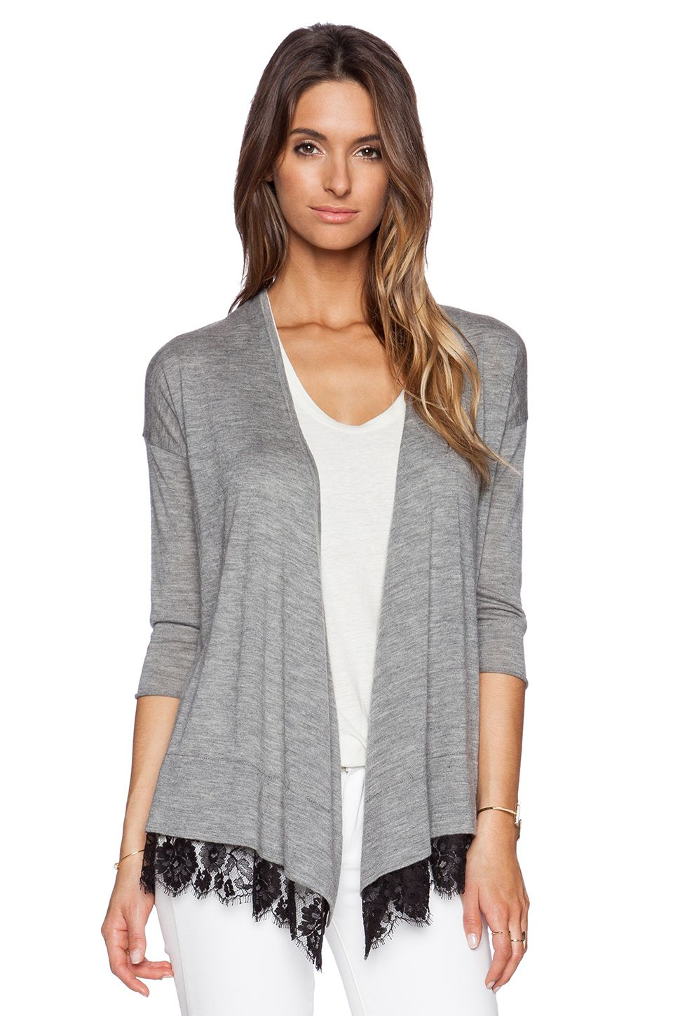 Autumn Cashmere Lace Trim Cardigan in Rock & Black | Tops ...