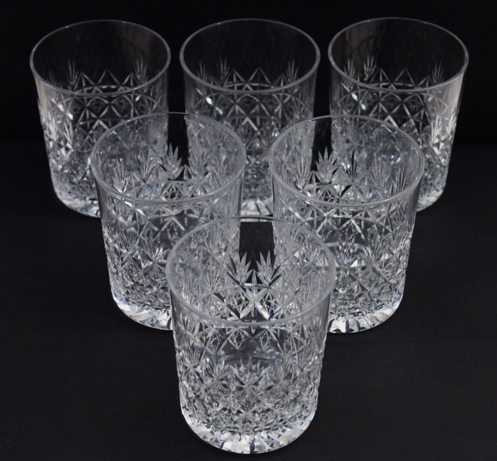 Whiskey Glasses Myer Thomas Webb Wellington Set Of 6 Six Large Whisky Crystal Glasses