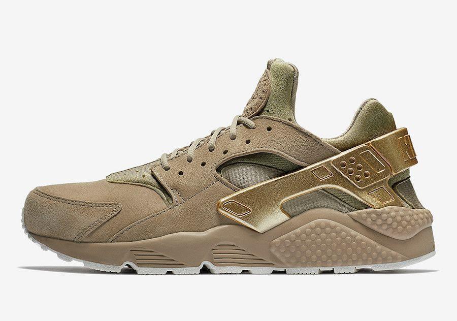 Nike Air Huarache Run SE Khaki Metallic Sneaker Bar Detroit