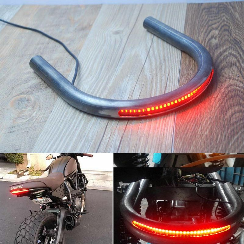 Motorcycle Seat Frame Hoop Loop Brat Style With Led Turn Signal Brake Light For Cafe Racer Modified Custom Custo Luces Traseras Led Luces Para Motos Traseros