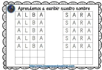 http://www.imageneseducativas.com/fichas-escritura-infantil-repasamos-nombre-plantillas-incluidas/