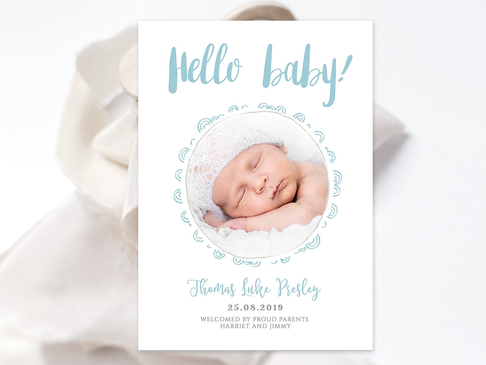 Photo Baby Boy Birth Announcement Invitation With Blush Pink Cute Flowers Newborn Baby Phot Baby Boy Birth Announcement Birth Announcement Boy Baby Photo Card