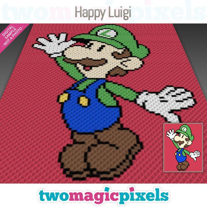 Mini C2c Pattern: Happy Luigi Crochet Graph (C2C, Mini C2C, SC, HDC, DC, TSS