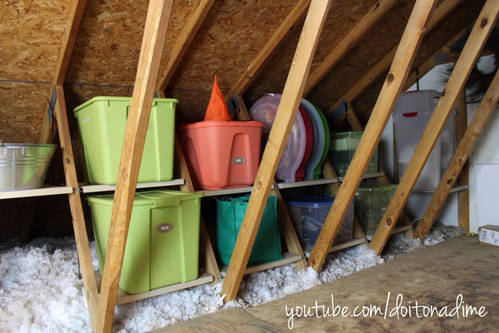 9 Tricks To Turn An Unfinished Attic Into A Practical Storage Space Attic Flooring Attic Renovation Attic Storage