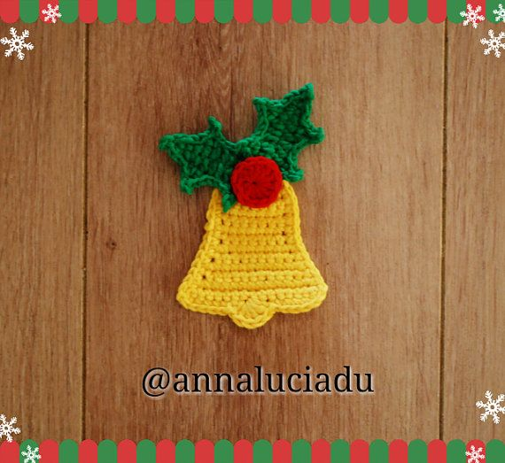 Bell crochet pattern crochet bell bell appliquecrochet applqiue youre going to love crochet christmas bell pattern by designer emma du dt1010fo