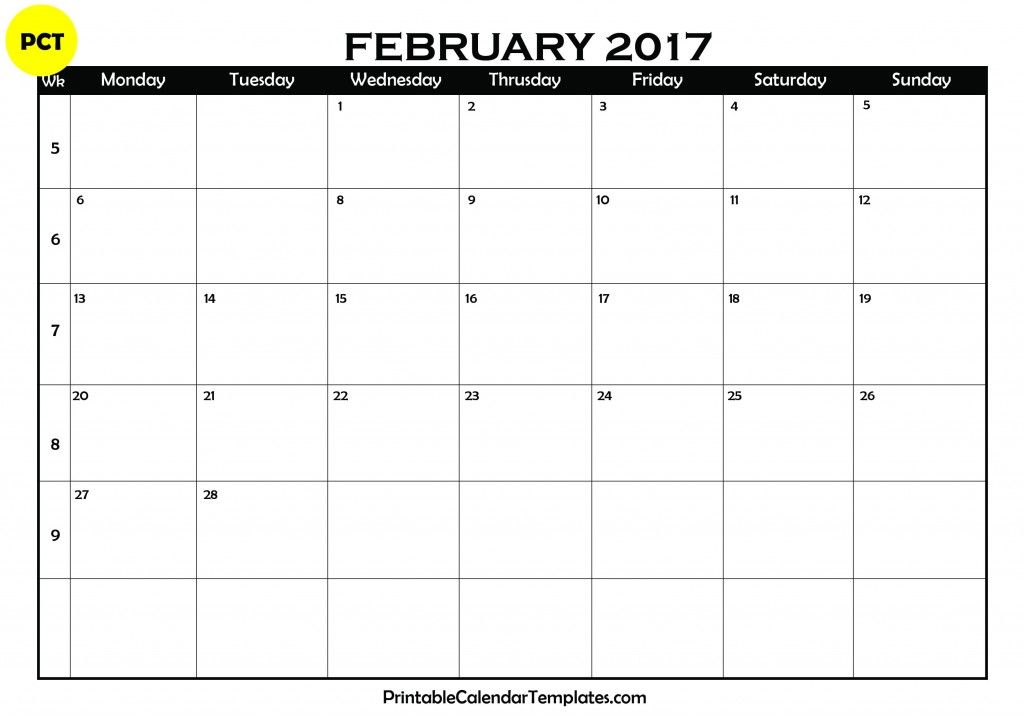 February 2017 Calendar, February Calendar 2017, February 2017