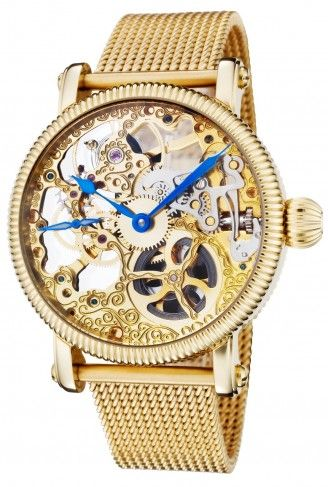 77b346219f739 Rougois RMS33G-MSS Gold Tone Mesh Band Automatic Skeleton Watch For Women